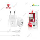 KIT CARREGADOR FANCY C/ 2 USB + CABO LIGHTNING FJ-01I